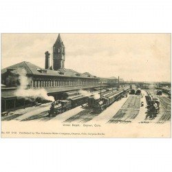 carte postale ancienne DENVER. Union Depot Colo. Trains et Gare