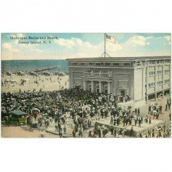 carte postale ancienne ETATS UNIS. New York. Municipal Baths and Beach. Coney Island