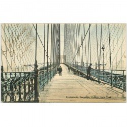 carte postale ancienne ETATS UNIS. New York. Promenade Brooklyn Bridge 1908