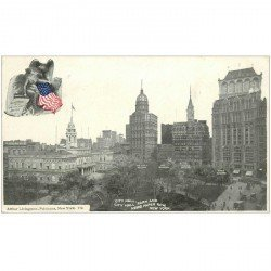 carte postale ancienne NEW YORK. City Hall Park and News Paper row