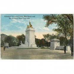 carte postale ancienne NEW YORK. Entrance to Central Park 59 th Street and 8 th Avenue