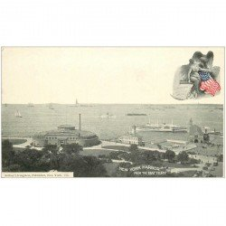 carte postale ancienne NEW YORK. Harbor from the Battery