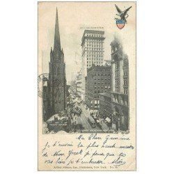 carte postale ancienne NEW YORK. Lover Broadway American Surety Building Trinity Church 1902