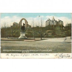 carte postale ancienne NEW YORK. Morningside Park showing Arch of New Cathedral and St. Lukes Hospital 1905