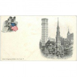 carte postale ancienne NEW YORK. Old Saint Paul and Saint Paul Building Broadway