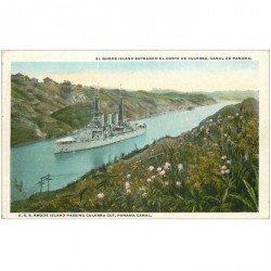 carte postale ancienne PANAMA CANAL. El Rhode Island entrado el Corte de Culebra