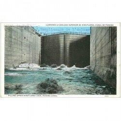 carte postale ancienne PANAMA CANAL. Filling upper Miraflores Lock