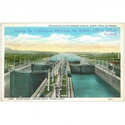 carte postale ancienne PANAMA CANAL. Gatun Locks looking North Ecluses