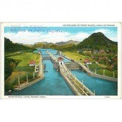 carte postale ancienne PANAMA CANAL. Pedro Miguel Locks Ecluses