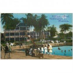 carte postale ancienne PANAMA. Hôtel Washington et Piscine