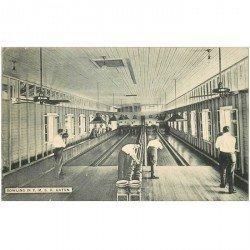 carte postale ancienne PANAMA. Le jeu du Bowling Gatun. Joueurs et pistes