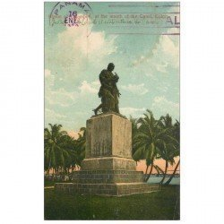 carte postale ancienne PANAMA. Statue of Columbus at the mouth of the Canal
