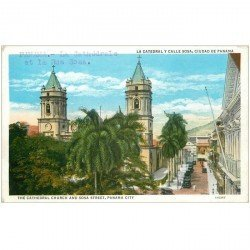 carte postale ancienne PANAMA. The Cathedral Church and Sosa Street