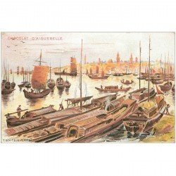 carte postale ancienne CHINE. Tien-Tsin embarcations de Pêcheurs et Commerçant sur le petit Port.
