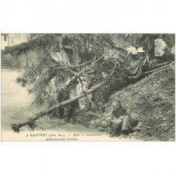 carte postale ancienne INDE. A Baigorry enchevêtrement d'Arbres après inondations avec Lavandière
