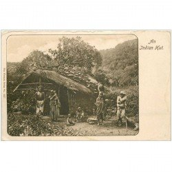 carte postale ancienne INDE. An Indian Hut. Bords émoussés et auréole...