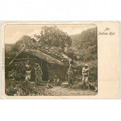 carte postale ancienne INDE. An Indian Hut. Bords émoussés et auréole...