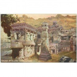 carte postale ancienne INDE. Bombay Caves of Ellora