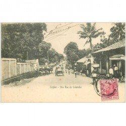carte postale ancienne INDE. Ceylan Ceylon. Une Rue de Colombo 1906