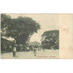 carte postale ancienne INDE. Colombo. Chetty Street vers 1900