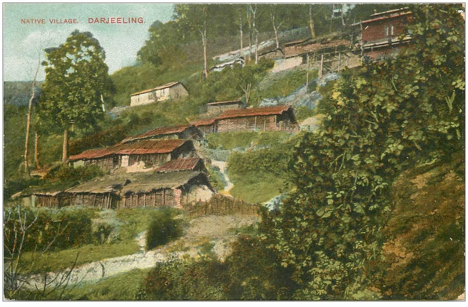 carte postale ancienne INDE. Darjeeling native Village of tea