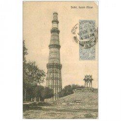 carte postale ancienne INDE. Delhi. Kutur Minar 1908 (défaut aux 4 coins...