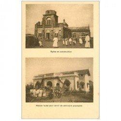 carte postale ancienne INDE. Eglise en construction et Maison des Séminaires