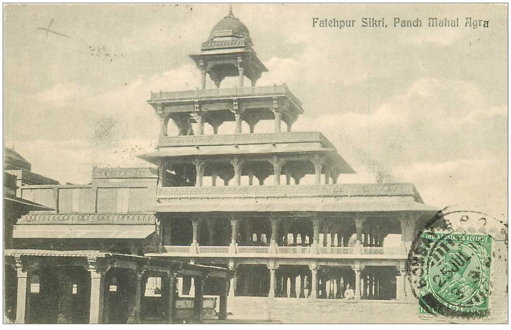 carte postale ancienne INDE. Fatehpur Sikri Panch Mahal Agra 1918