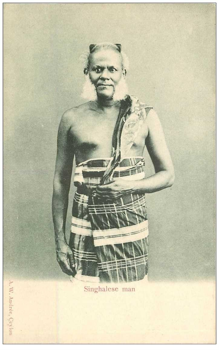 carte postale ancienne INDE. Homme ou Singhalese Man