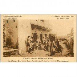 carte postale ancienne INDE. Maison riche Banya Villages des Mhers au Rajputana 1925