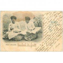 carte postale ancienne INDE. Marchands de Fruits. Fruit Sellers 1904 (défauts)...