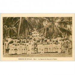 carte postale ancienne INDE. Missions Ceylan Ceylon. Les figurants du Drame de la Passion