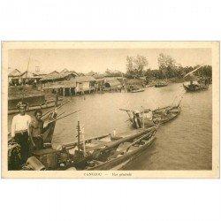 carte postale ancienne VIET NAM. Cangioc. Pêcheurs et Commerçants sur barques