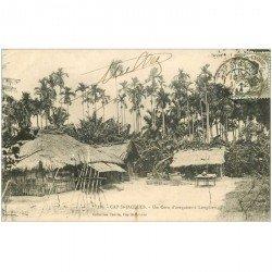 carte postale ancienne VIET NAM. Cap Saint Jacques un coin d'arequiers à Longdien. Timbre 1 centime 1914