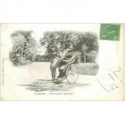 carte postale ancienne VIET NAM. Cochinchine Pousse pousse Saigonnais vers 1900