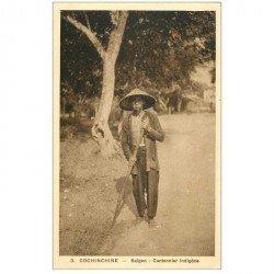 carte postale ancienne VIET NAM. Cochinchine. Saïgon. Cantonnier Indigène