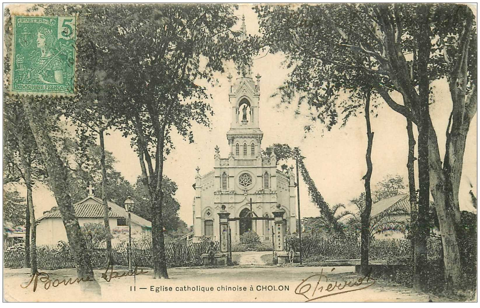 carte postale ancienne VIET-NAM. Cholon. Eglise catholique chinoise 1906