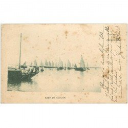 carte postale ancienne VIET-NAM. Cochinchine. Rade de Caugiou 1904. Timbre manquant...
