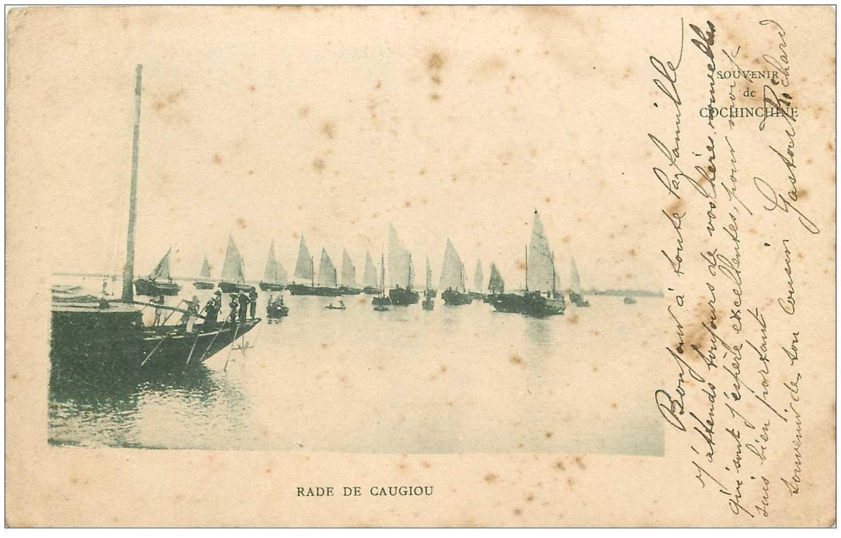 carte postale ancienne VIET-NAM. Cochinchine. Rade de Caugiou 1904. Timbre manquant...