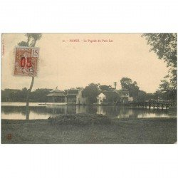 carte postale ancienne VIET-NAM. Hanoi. Pagode du Petit Lac. Beau timbre de 15 centimes Indochine