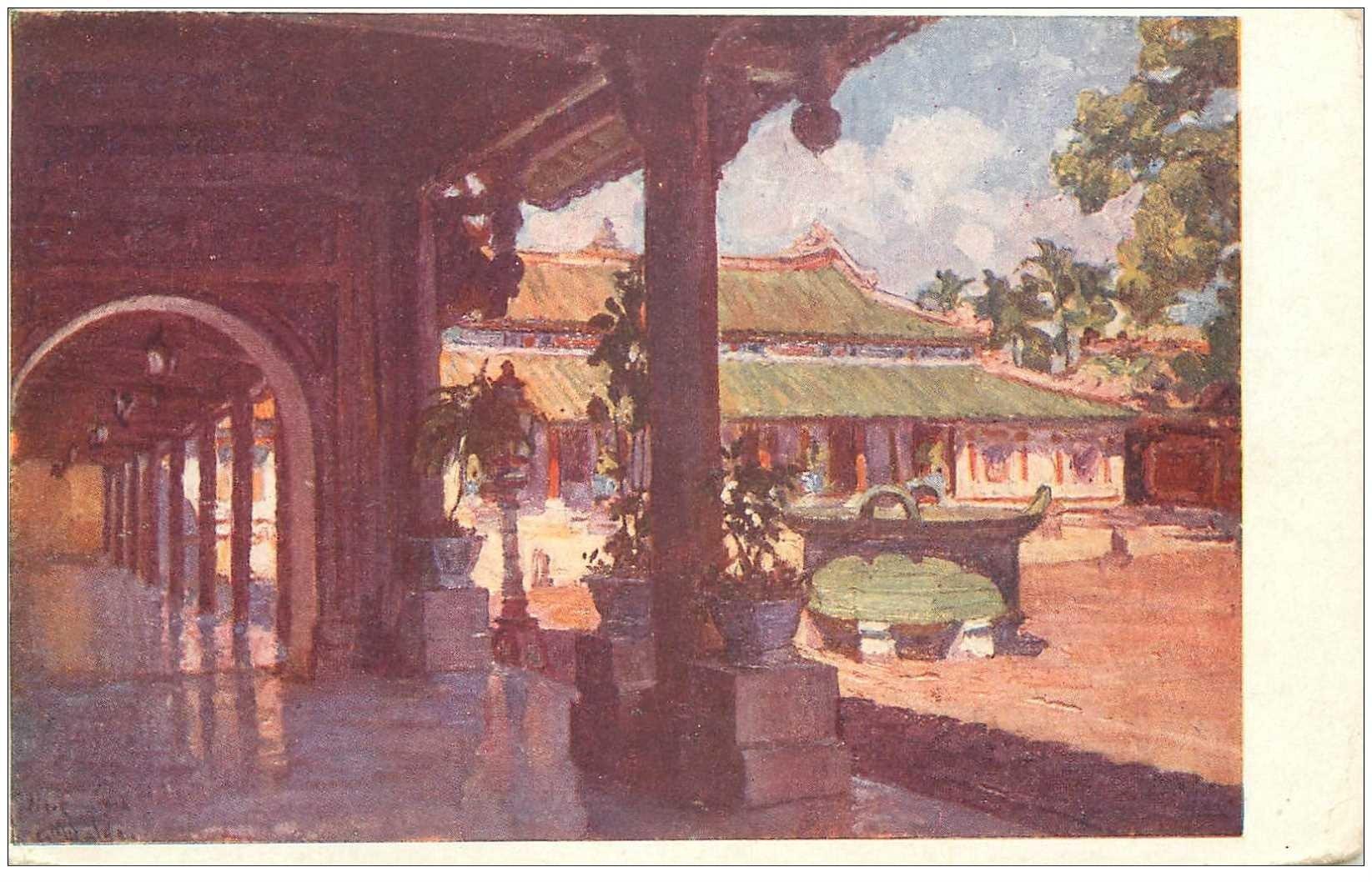 carte postale ancienne VIET-NAM. Hué. Cour des laïs Palais du Roi