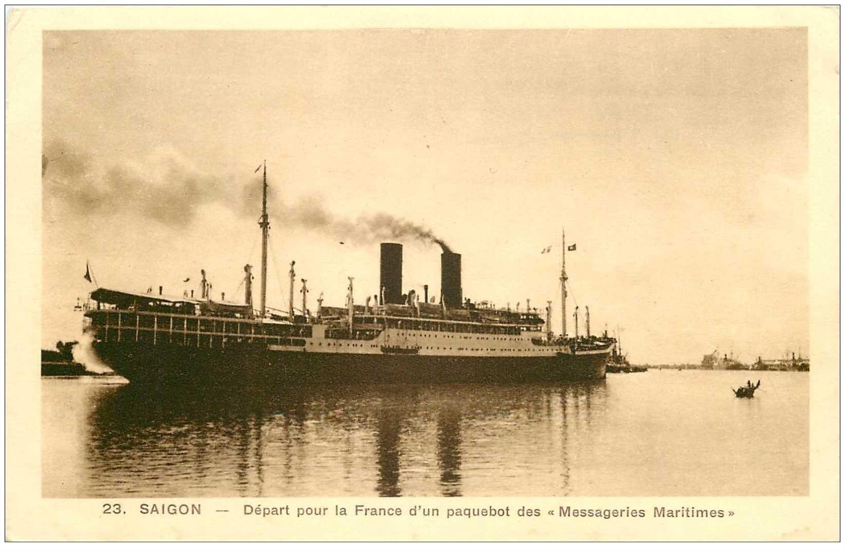 carte postale ancienne VIET-NAM. Saïgon. Départ Paquebot des Messageries Maritimes pour la France