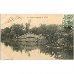 carte postale ancienne VIET-NAM. Saïgon. Habitation Annamite sur le Fleuve 1913