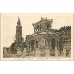 carte postale ancienne VIET-NAM. Tombeau Khai Dinh Stèle et Cour Honneur