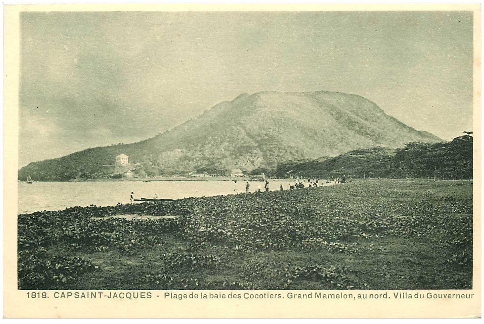 carte postale ancienne Viêt-Nam.. CAP SAINT JACQUES. Plage Baie des Cocotiers Grand Mamelon Villa Gouverneur