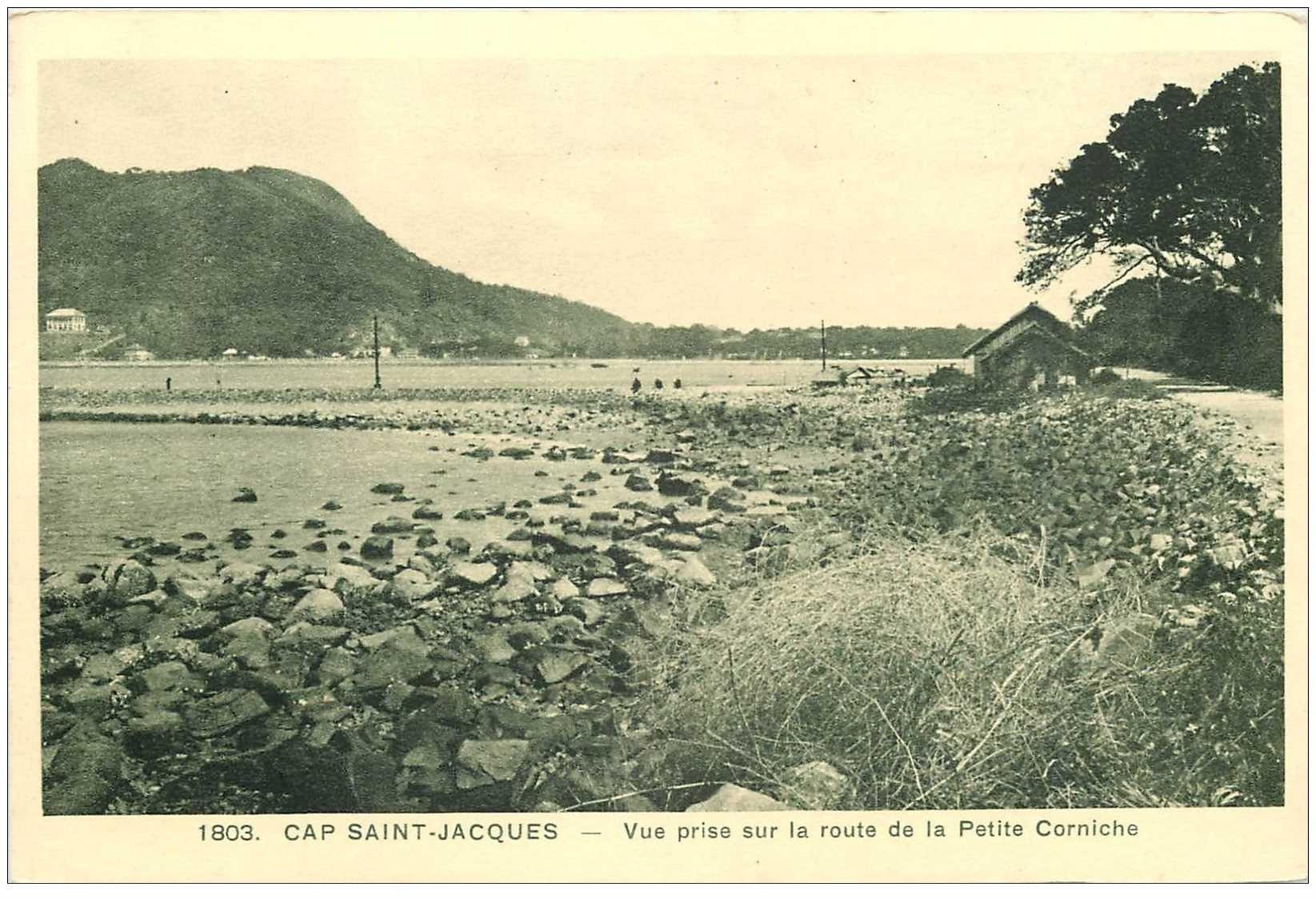carte postale ancienne Viêt-Nam.. CAP SAINT JACQUES. Vue Route Petite Corniche
