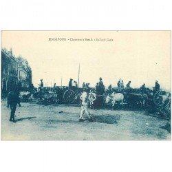 carte postale ancienne SINGAPOUR SINGAPOR. Charettes à Boeufs Bullock Caris