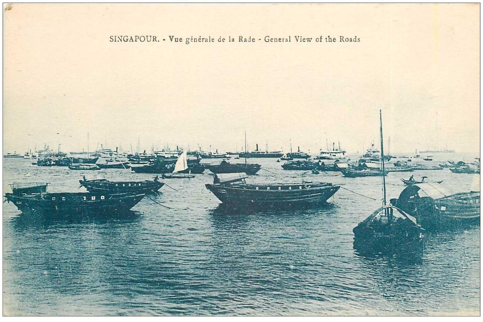 carte postale ancienne SINGAPOUR SINGAPOR. La Rade the Roads