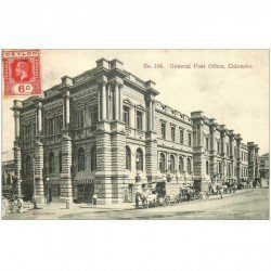 carte postale ancienne SRI LANKA. Colombo. General Post Office vers 1908...