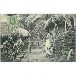 carte postale ancienne SRI LANKA. Colombo. Native Huts Cotta 1908